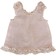 Vintage doll slip hand sewn with  MOP button shoulders and insertion lace hem 8 inch length