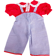 Vintage doll clothes blue overalls and red white blouse well made no tags