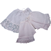 Vintage doll petticoat and drawers lacy doll whites adjustable drawstring waist small dolls