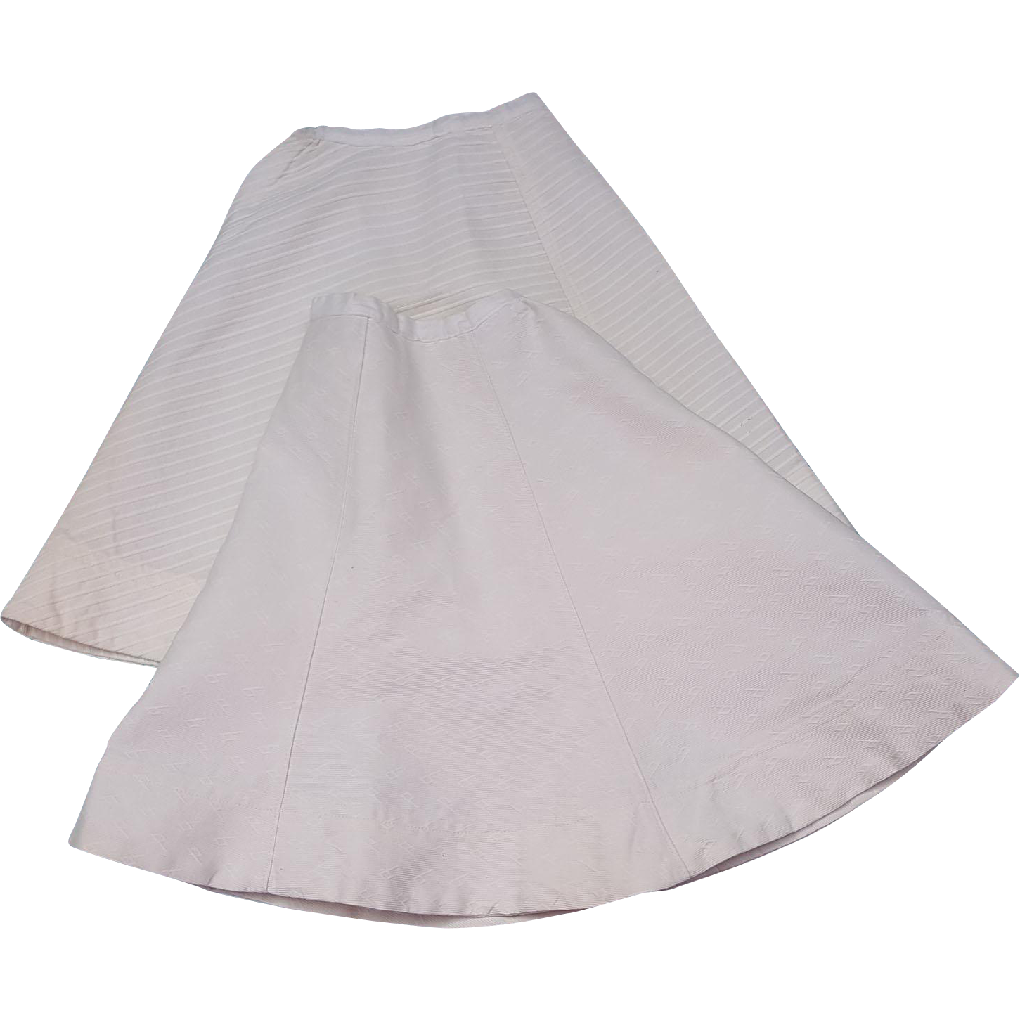Pair white antique doll skirts full length A-line patterned white material  11 inch waists