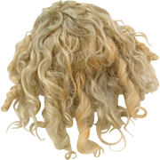 Antique blonde mohair wig for German bisque doll 12 inch  head circ.