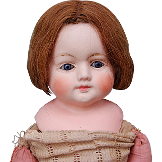 """Antique papermache German 21"""" doll patent washable bulgy blue glass eyes primitive plaything to dress hair stuffed body"""