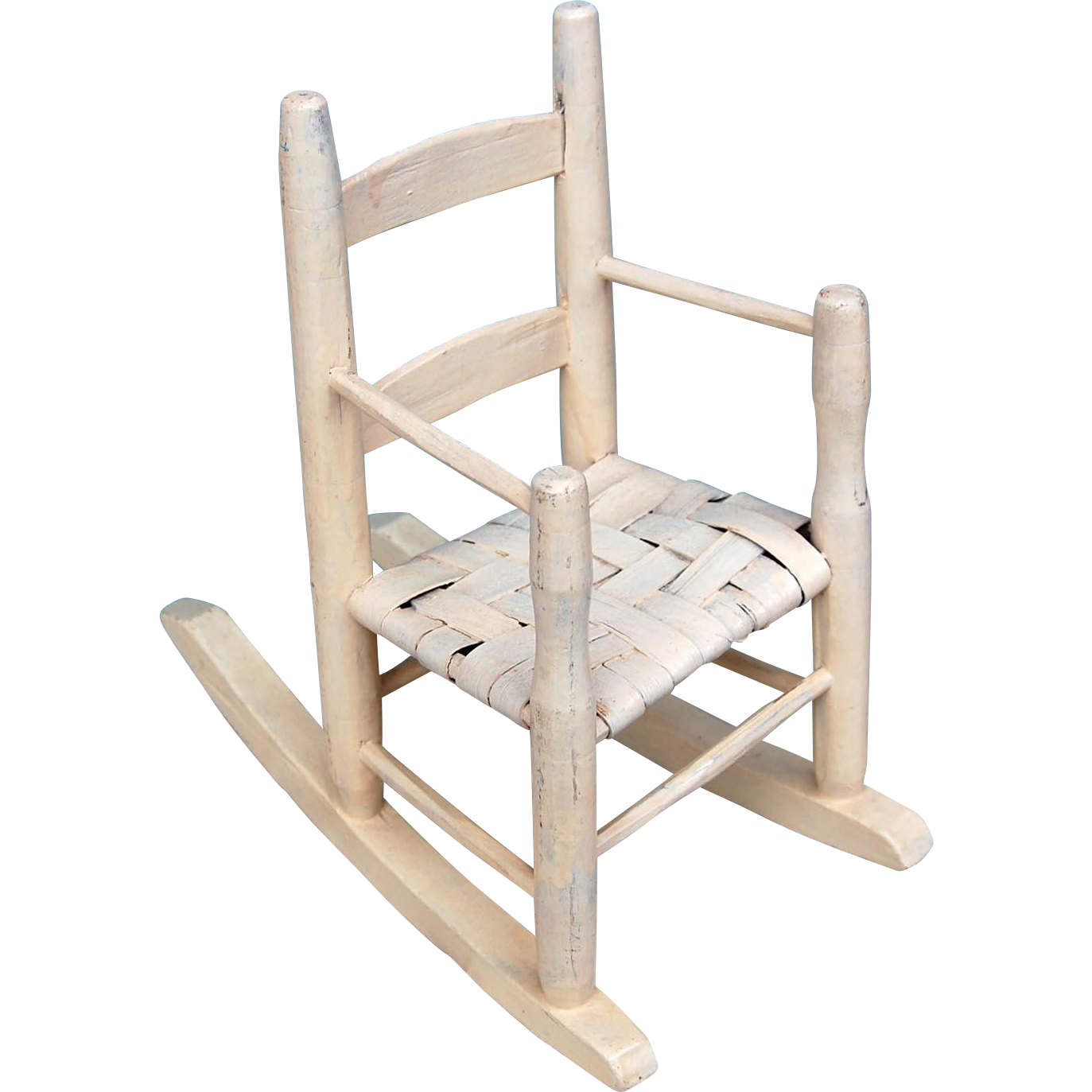 Antique dolls bears wood rocking chair old cream paint woven seat arm rails 19th century