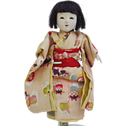 Vintage Japanese Ichimatsu gofun girl doll cat character print pink kimono petite 6.5 inch pierced nostrils painted teeth open closed mouth