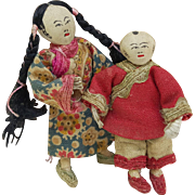 Miniature Chinese Mission cloth dolls pair boy and girl