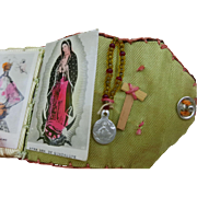 Vintage doll size folding devotional booklet scapular Miraculous Medal Catholic tiny 1.75 x 1.5  inches  hand made