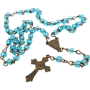 Vintage doll's rosary teal blue glass beads brass chain brass crucifix cross hallmarked Italy 9.25 inch long child size