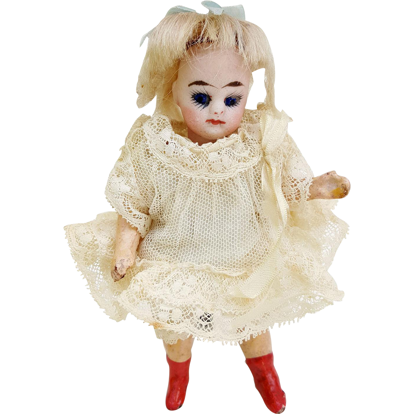 Antique mignonette bisque socket head doll CM cobalt glass eyes 5 piece body orange heeled boots blonde mohair wig lacy original dress  4.75 inch