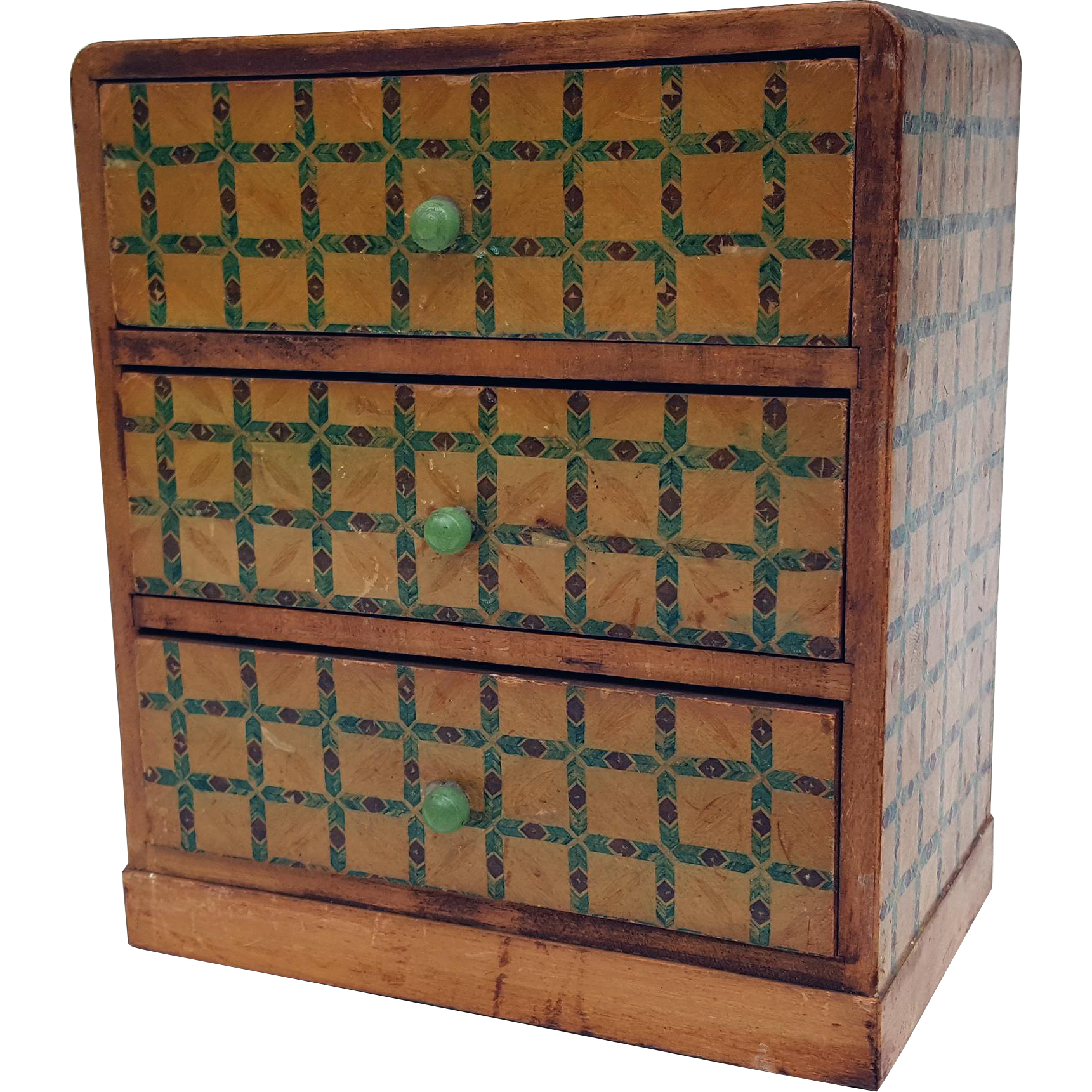 Vintage miniature three drawer chest bureau wood paper covered green brown diamond arrow pattern Made in Japan 6 inches