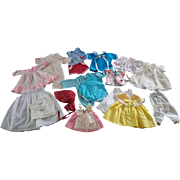 Tiny Thumbelina Gund tagged vintage doll clothes dress slip apron more Chix diapers drop seat PJ  blue romper red bandana print sun bonnet