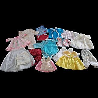 Tiny Thumbelina Gund tagged vintage doll clothes dress slip apron more Chix diapers drop seat PJ  blue romper red bandana print sun bonnet
