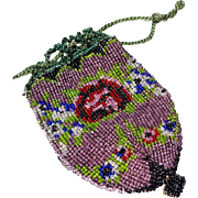 Antique beaded purse bag Germany label child doll size red rose green navy cobalt clear beads green crochet drawstring  4 x 3 inch  c.  1900