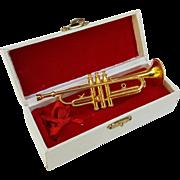 Vintage miniature trumpet musical instrument horn doll size in original red velvet presentation case 4.75 inch metal gold brass finish