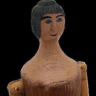 Vintage artist carved peg wooden woman doll figure mannequin articulated body  C Landuyt  Clanduyt  1983 oil paint face bun hair 17 inch