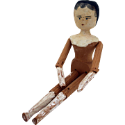 German peg wooden penny wooden carved articulated Grodner Tal Dutch doll 11.5 inches