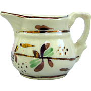 Miniature Copper Luster doll size creamer pitcher pink green copper flowers 1.25 inch