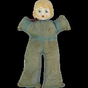 Vintage glazed porcelain doll head  soft body nursery pin cushion Japan 8 inch