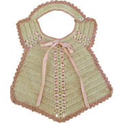 Vintage pink and cream crocheted infant baby girl doll bib woven pink ribbon ties button shoulder 8 inch L