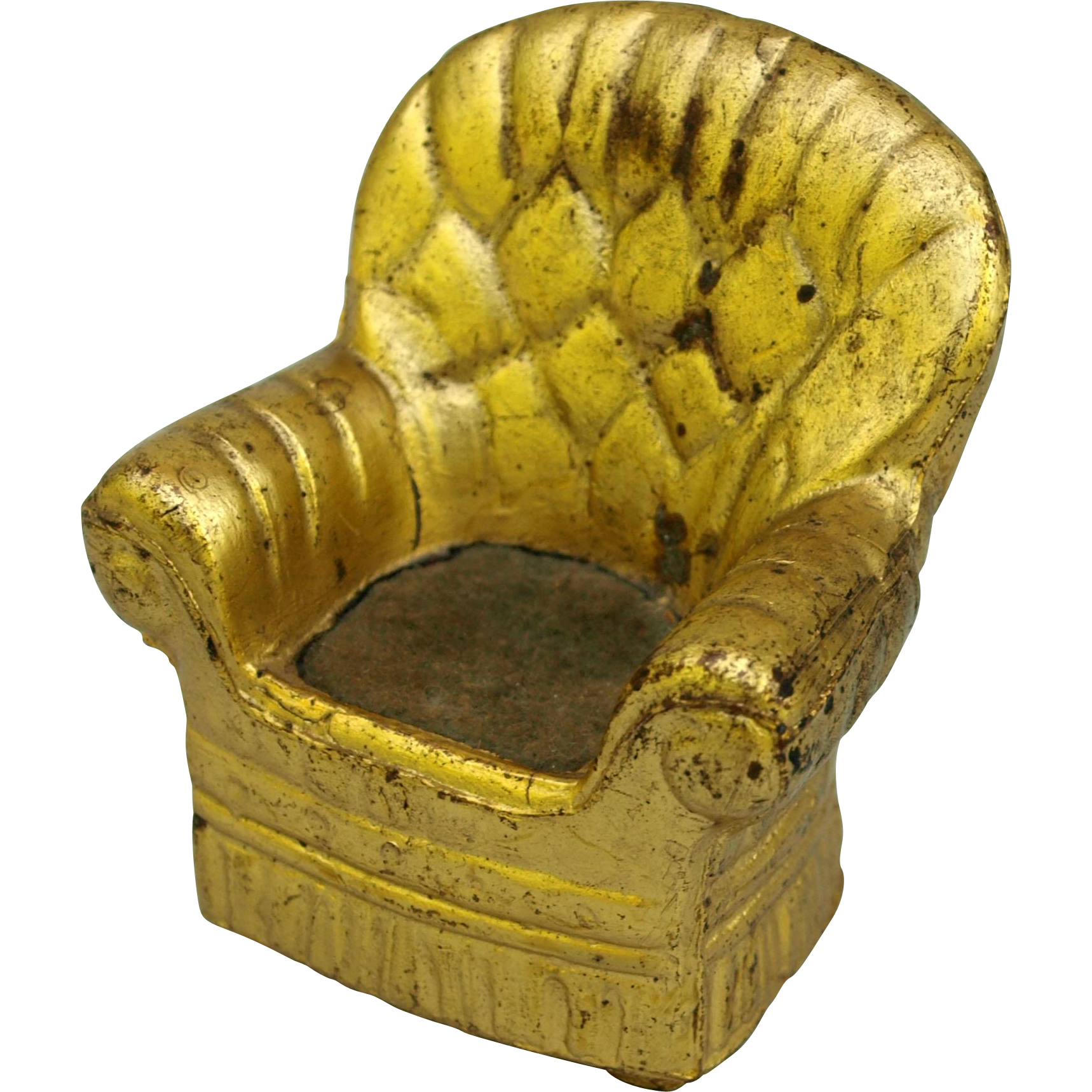 Miniature pin cushion metal dollhouse arm chair gold paint velvet seat needle sewing collectible 2 inches