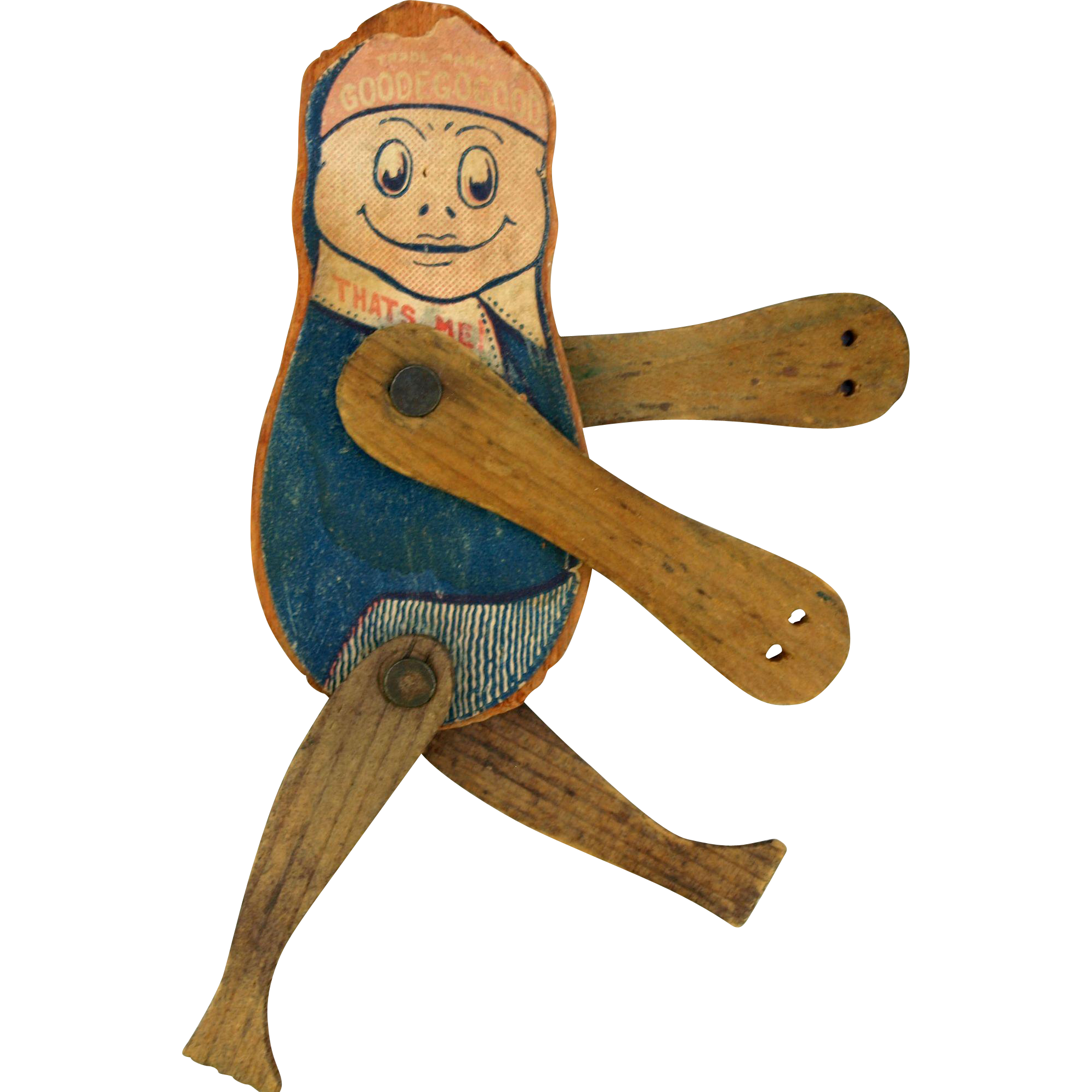 Antique 1903 Goodegogood articulated flat litho on wood acrobat boy doll Good E Gogood That's me! trademark  Frederick M Osgood Manchester NH