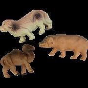 Three large celluloid animal figure doll toys TLC pig hog camel dog Japan USA
