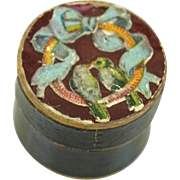 Antique miniature round box blue love birds decorated cover black glossy paper doll accessory super tiny 5/8 inch x 3/4 inch