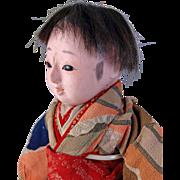 Japanese Ichimatsu gofun boy doll brush stroke temples pierced nostrils painted teeth 13.5 inch