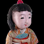 Japanese Ichimatsu gofun play doll  girl 15 inch pierced nostrils wired arms TLC repaired leg