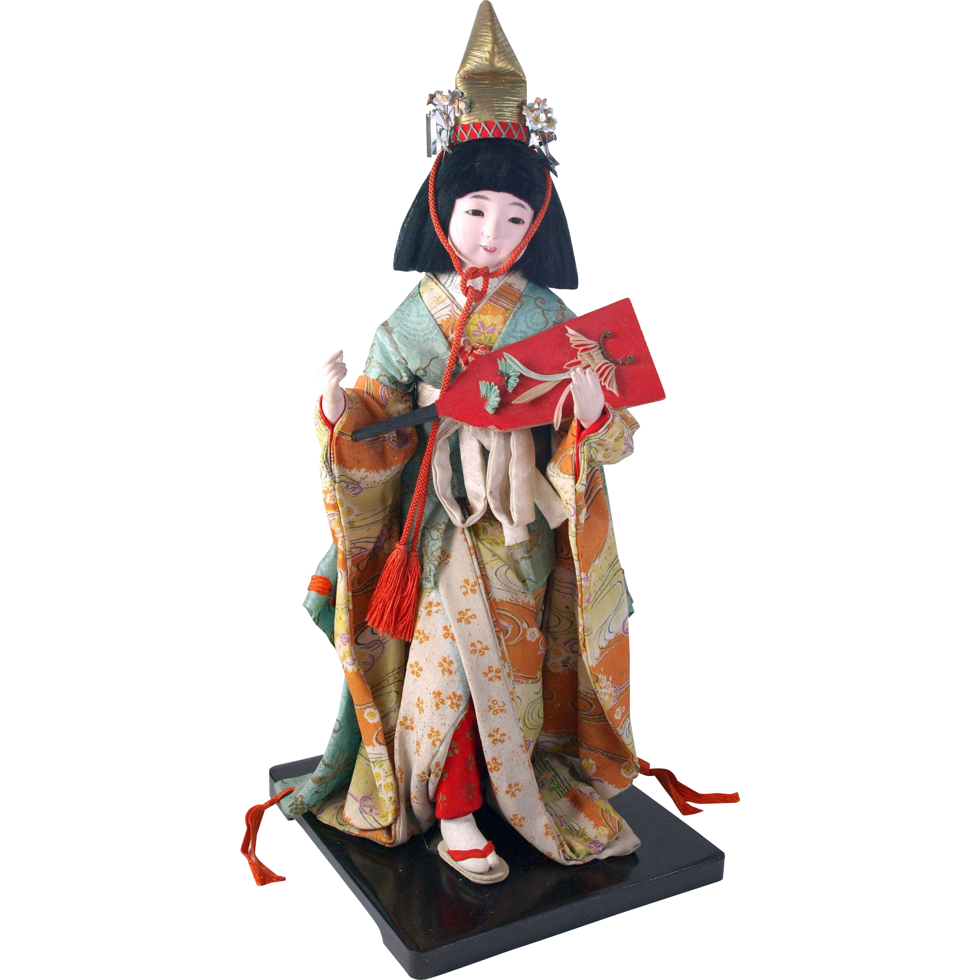 Beautiful Japanese gofun smiling lady doll open closed mouth original costume mounted on black lacquer wood stand Japan 17.5 inches