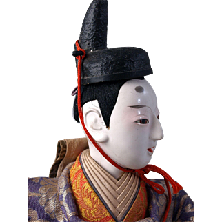 Japanese doll swivel head Emperor Girls Boys Day Festival doll oyster shell gofun tinted eyelids large 10.5 inches tall and 16.5 inches wide.