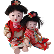 Pair of Japanese gofun sister baby dolls black hair original kimono TLC Dolls  8 and 6.5  inches
