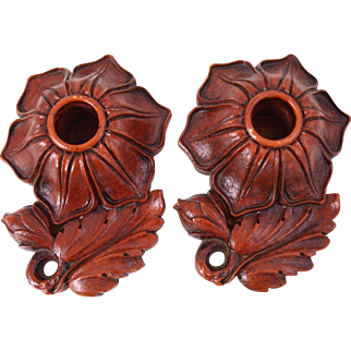 Vintage Syroco flower petal bud leaf wood candle holder candle base candlesticks pair red brown wood finish 5.25 inch
