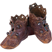 Antique Keystone leather doll boots two strap  double buckles metal buttons scalloped pierced diamond edge 2 1/8 worn