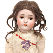 Attic Doll Pansy with hangtag antique German bisque all original wig factory chemise clothes shoes perfect shiny patina compo body 20 inch