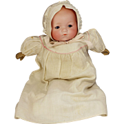 Dream Baby AM 341 German 12 inch bisque head baby doll original gown slip bonnet blue sleep eyes cloth body compo hands