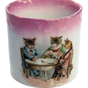 Antique cup three cats playing cards nursery German transferware lusterware pink luster porcelain drinking mug cup children or dolls nurseryware 2 1/8 inches