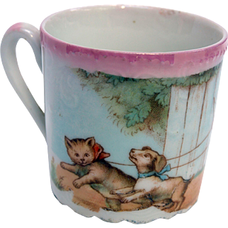 Antique cup dog cats toys boy and girl nursery theme Bavaria transferware lusterware porcelain childrens drinking cup mug doll accessory nurseryware action on full surface