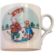 Antique cup Hey Diddle Diddle Cat and the Fiddle Mother Goose nursery rhyme German transferware lusterware porcelain cup drinking mug cow jumped over the moon dog laughed nurseryware