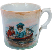 Antique cup Row Row Row your boat dressed cats and kittens rowing stream lake Mother Goose nursery rhyme German transferware lusterware porcelain nurseryware childs dolls mug drinking cup
