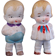 Pair all bisque immobiles dolls brother and sister Made in Japan 2.5 inches