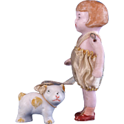 Antique German all bisque doll and bisque spotted dog on ribbon leash Germany 3564  bobbed hair girl original romper 2.75 inch
