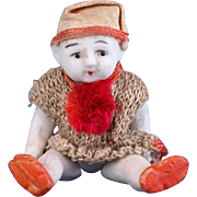 Vintage all bisque jointed boy doll jester clown costume cap and knit shirt red pom pom made in Japan  2.5 inch