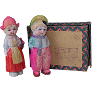 Pair all bisque dolls original box Dutch costume Made in Japan