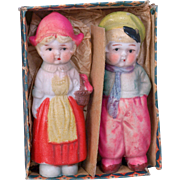 Pair all bisque immobiles 4 inch dolls Dutch costume in original box Made in Japan
