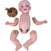 Bisque head baby doll Morimura Brothers cabinet size 8 inch MB Japan needs stringing five piece compo body, neck button pate wig