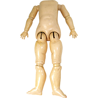 Antique Handwerck composition and wood ball jointed doll body unmarked 19 inch body with wooden neck button for large 24 inch doll