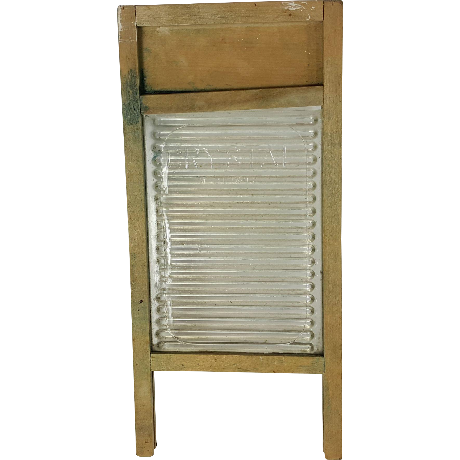 Vintage Crystal brand dolls washboard wood and ribbed glass country primitive laundry room childs or doll accessory  11 x 5 inch