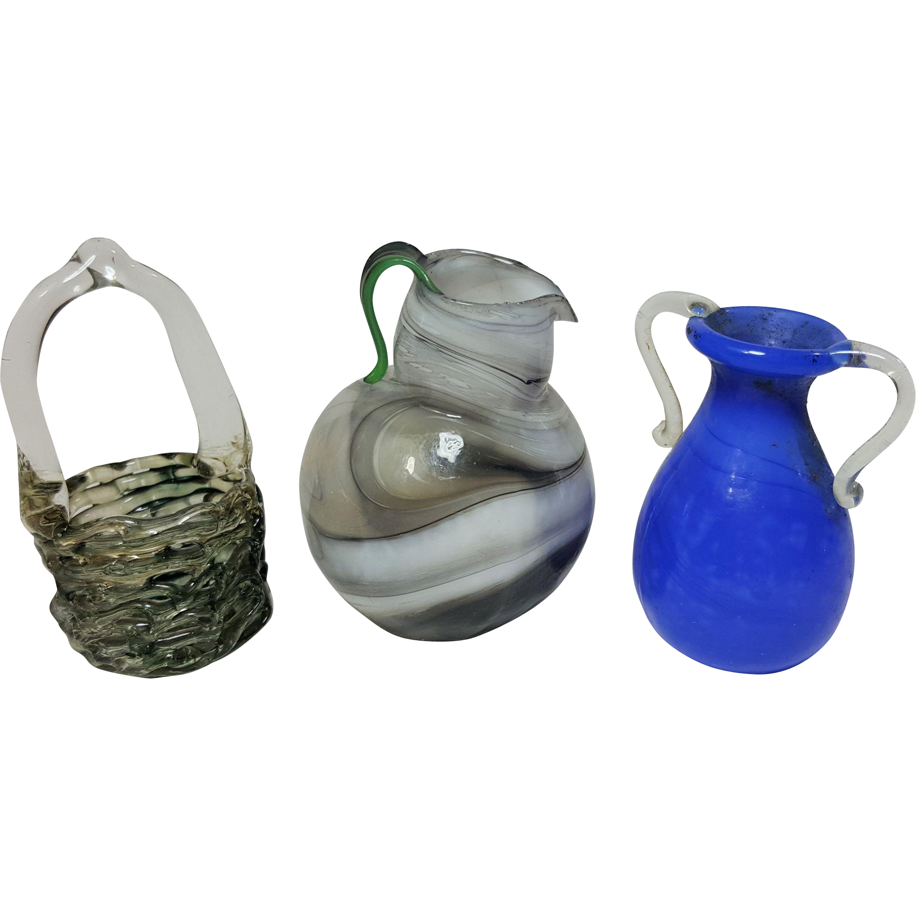 Three miniature blown glass handled pitcher vase and spun glass basket doll house accessories grey white swirl blue with clear