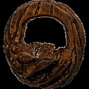Tiny miniature carved fruit pit or wood vintage handled basket  7/8 inch