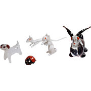 Collection micro mini glass menagerie animals white mice standing dog long ear bunny rabbit metal lady bug